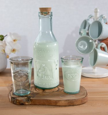 100% recycled glass - Absolute Milk bottle & Tumblers - resized